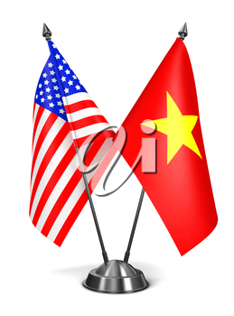 USA and Vietnam - Miniature Flags Isolated on White Background.