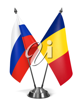 Russia and Romania - Miniature Flags Isolated on White Background.