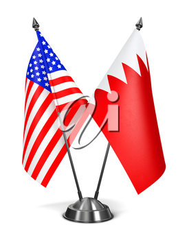 USA and Bahrain - Miniature Flags Isolated on White Background.