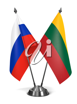 Russia and Lithuania - Miniature Flags Isolated on White Background.
