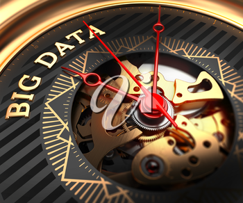 Big Data on Black-Golden Watch Face with Watch Mechanism. Full Frame Closeup.