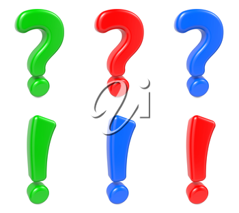 Set Question and Exclamation Mark Green, Blue and Red Color. Isolated on White. 3d concept.