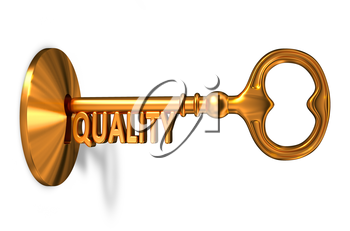 Quality - Golden Key is Inserted into the Keyhole Isolated on White Background