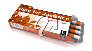 Cure for Jaundice - Brown Open Blister Pack Tablets Isolated on White.