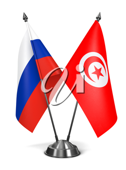 Russia and Tunisia - Miniature Flags Isolated on White Background.