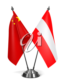 China and Austria - Miniature Flags Isolated on White Background.
