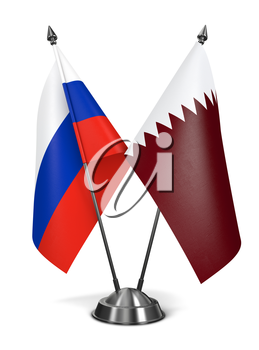 Russia and Qatar - Miniature Flags Isolated on White Background.