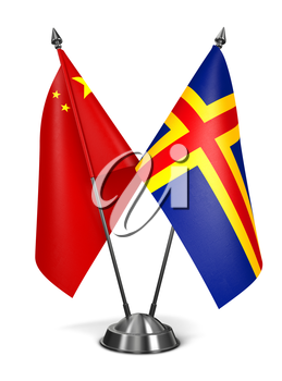 China and Aland - Miniature Flags Isolated on White Background.