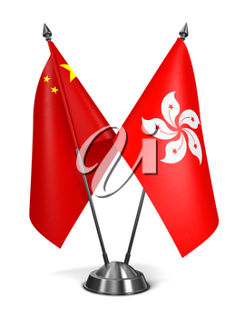 Hong Kong and China - Miniature Flags Isolated on White Background.