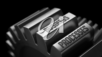 Business Processes on the Metal Gears on Black Background.