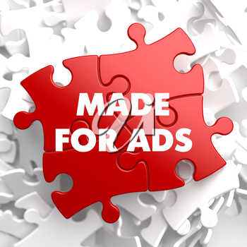 Made for Ads on Red Puzzle on White Background.