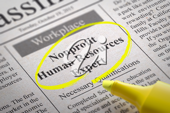 Nonprofit Human Resources Expert Vacancy in Newspaper. Job Search Concept.