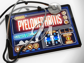 Pyelonephritis - Diagnosis on the Display of Medical Tablet and a Black Stethoscope on White Background.