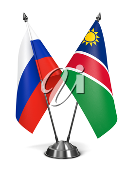 Russia and Namibia - Miniature Flags Isolated on White Background.