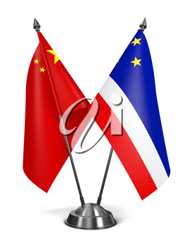 China and Gagauzia - Miniature Flags Isolated on White Background.