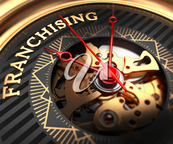 Franchising on Black-Golden Watch Face with Closeup View of Watch Mechanism.