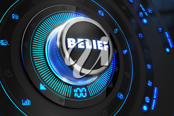 Belief Button with Glowing Blue Lights on Black Console.
