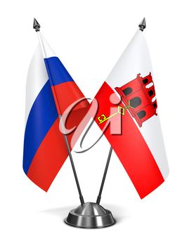 Royalty Free Clipart Image of Russia and Gibraltar Miniature Flags