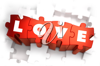 Royalty Free Clipart Image of Love Text on Puzzle Pieces