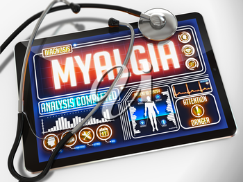 Royalty Free Clipart Image of Myalgia Diagnosis on a Tablet