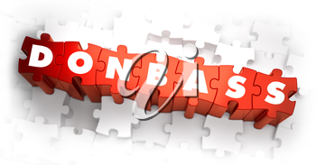 Donbass - White Word on Red Puzzles. Selective Focus. 3D Render.