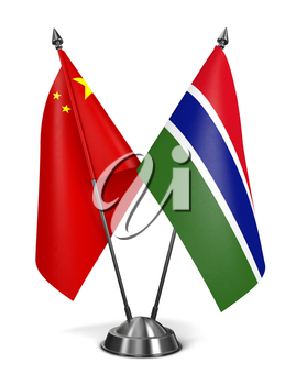 China and Gambia - Miniature Flags Isolated on White Background.