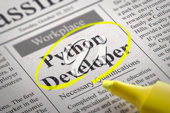 Python Developer Vacancy in Newspaper. Job Search Concept.