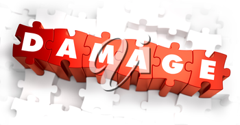 Damage - Text on Red Puzzles on White Background. Selective Focus. 3D Render.