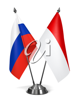 Russia and Indonesia - Miniature Flags Isolated on White Background.