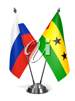 Russia, Sao Tome and Principe - Miniature Flags Isolated on White Background.