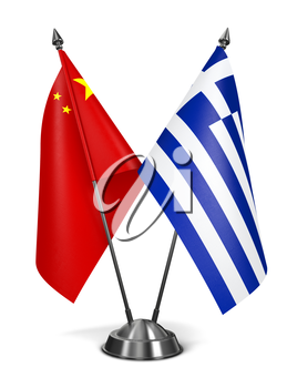 China and Greece - Miniature Flags Isolated on White Background.