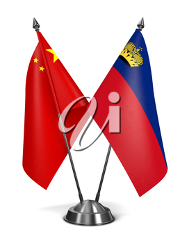 China and Liechtenstein - Miniature Flags Isolated on White Background.