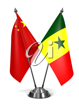 China and Senegal - Miniature Flags Isolated on White Background.