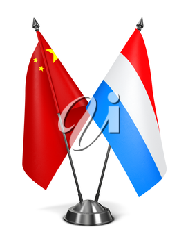 China and Luxembourg - Miniature Flags Isolated on White Background.