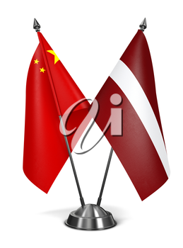 China and Latvia - Miniature Flags Isolated on White Background.