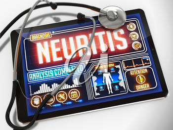 Neuritis - Diagnosis on the Display of Medical Tablet and a Black Stethoscope on White Background.