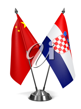China and Croatia - Miniature Flags Isolated on White Background.