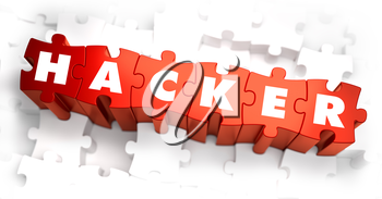 Hacker - Text on Red Puzzles with White Background. 3D Render.