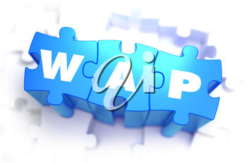 Wap - White Word on Blue Puzzles on White Background. 3D Illustration.