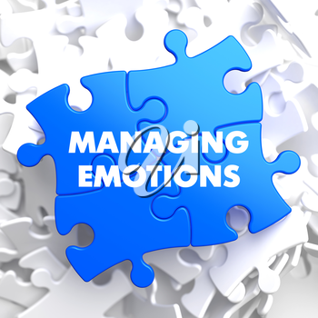 Managing Emotions on Blue Puzzle on White Background.