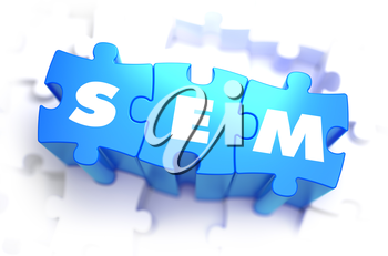 SEM - Text on Blue Puzzles on White Background. 3D Render.