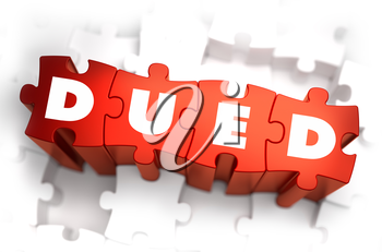DueD - Text on Red Puzzles with White Background. 3D Render.