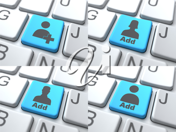 E-Dating Concept - Blue Button on Keyboard Consisting of Share.