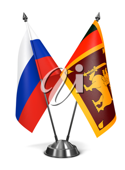 Russia and Sri Lanka - Miniature Flags Isolated on White Background.