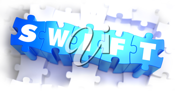 SWIFT - White Word on Blue Puzzles on White Background. 3D Render.