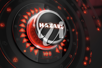 Hazard Controller on Black Control Console with Red Backlight. Danger or Risk Control Concept.