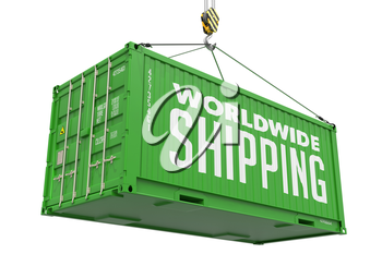 Worldwide Shipping-  Green Cargo Container hoisted by hook, Isolated on White Background.