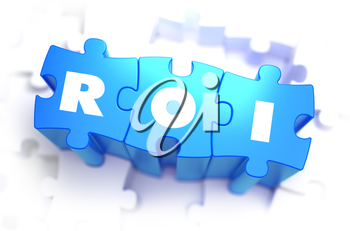 ROI - White Text on Blue Puzzles and Selective Focus. 3D Render.