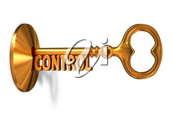 Control - Golden Key is Inserted into the Keyhole Isolated on White Background