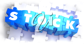 Stock - White Word on Blue Puzzles on White Background. 3D Render.
